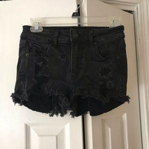 American Eagle black black denim high rise shorts
